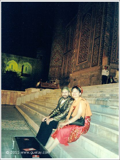 Josef Olt and Ting Feng-Chiu at Registan Square in Samarkand (2003)