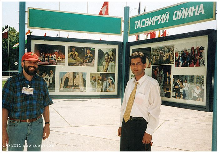Josef and Sahiyor at Registan Square in Samarkand (1999)