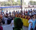 farewell ceremony at Samarkand's railway station