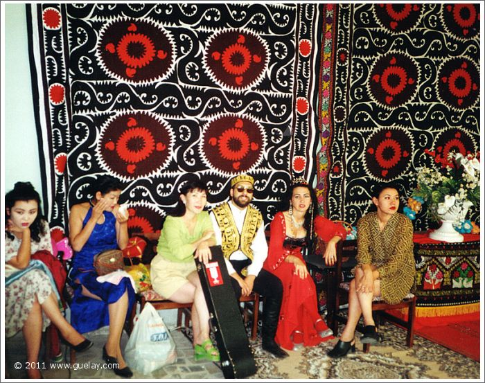 Josef Olt and Gülay Princess in Samarkand with musicians from Mongolia (1997)