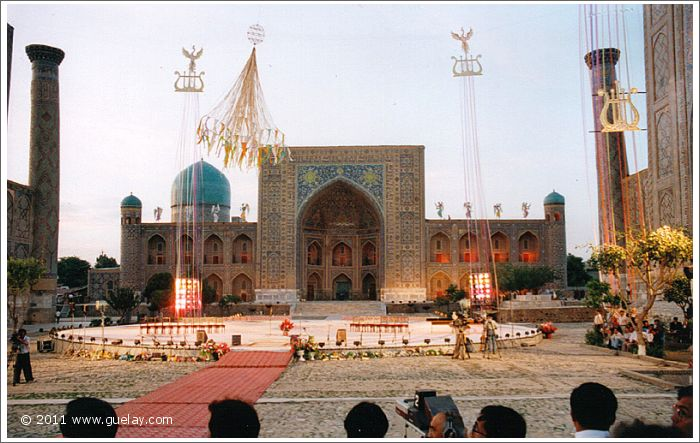 the main stage at Registan Square in Samarkand (1999)