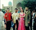 Feng-Chiu, Lalu, Gülay Princess and Josef at Registan Square in Samarkand (2003)